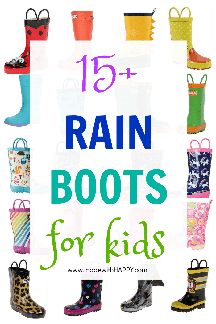 Rainbow Rain Boots of all colors. 15+ Rain Boots for Kids. Spring rain boots for kids. Bright colored rain boots for kids. www.madewithhappy.com