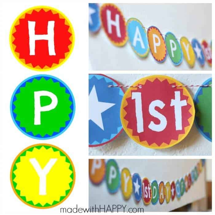 Happy 1st Day of School Printable Banner