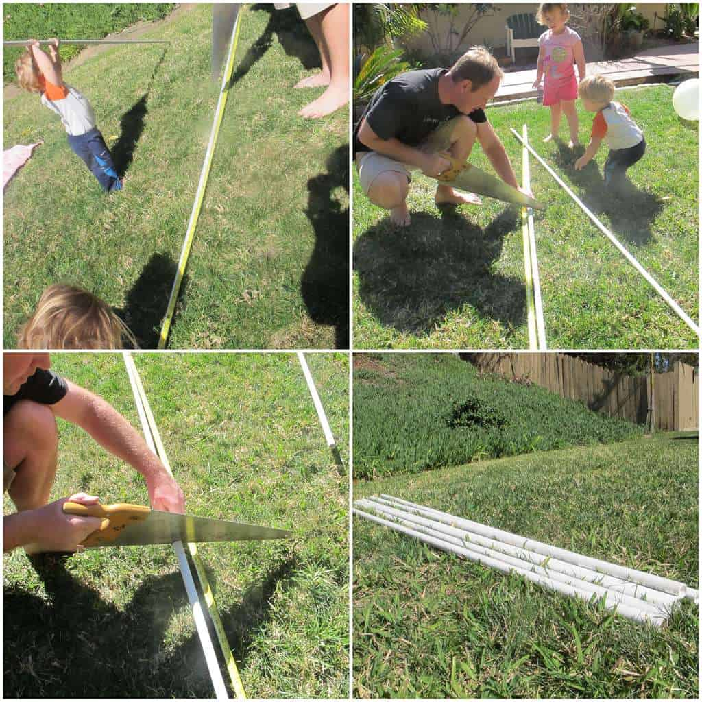 cut pvc pipe for teepee