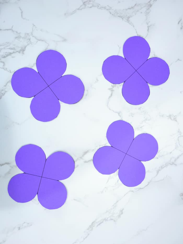 I chose purple cardstock, but any bright color will make a beautiful butterfly.