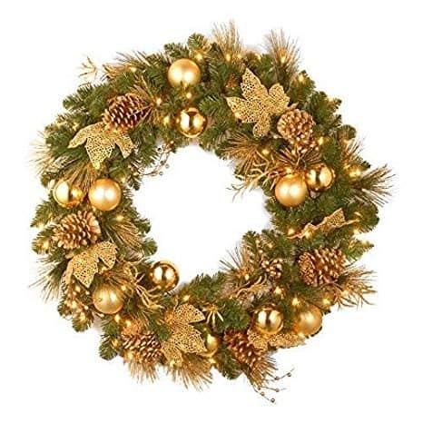Elegant Gold and Glitter Pre-Lit Wreath