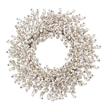 White and Champagne Artificial Wreath