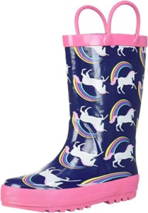Rainbow Unicorn Rain Boots For Kids. 15+ Rain Boots for Kids. Spring rain boots for kids. Bright colored rain boots for kids. www.madewithhappy.com