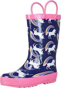 Rainbow Unicorn Rain Boots For Kids. 15+ Rain Boots for Kids. Spring rain boots for kids. Bright colored rain boots for kids. www.madewithhappy.com