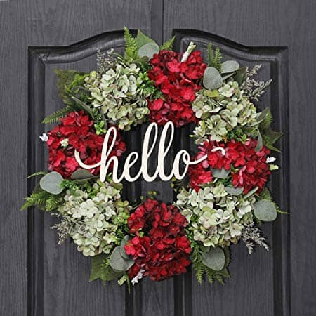 Handmade Green and Red Hydrangea Wreath