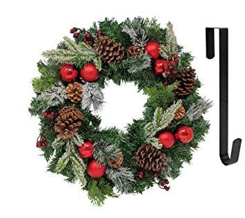 Faux Red Hydrangea Christmas Wreath