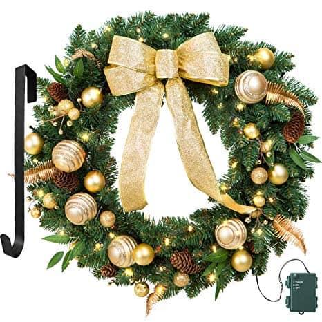 Christmas Wreath Gold Bowknot