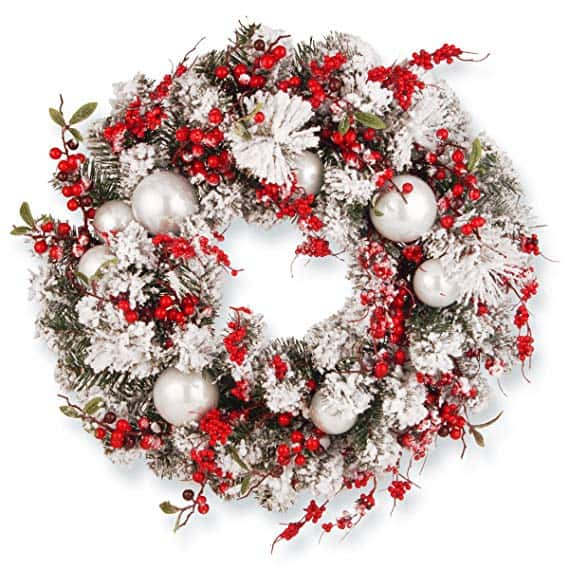 Christmas Wreath with Red and White Ornaments