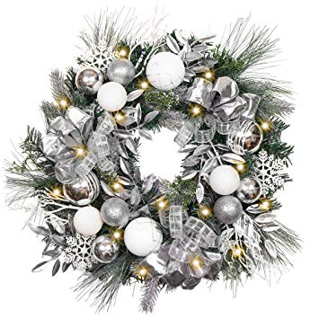 Pre-Lit 24 Inch Frozen Silver Christmas Wreath
