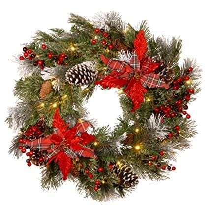 LED Lit Plaid Poinsettia Wreath