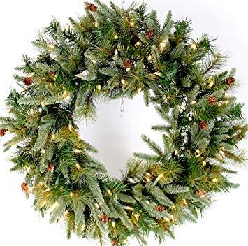 Pre-Lit Mountain Fir & Pine Needle Wreath