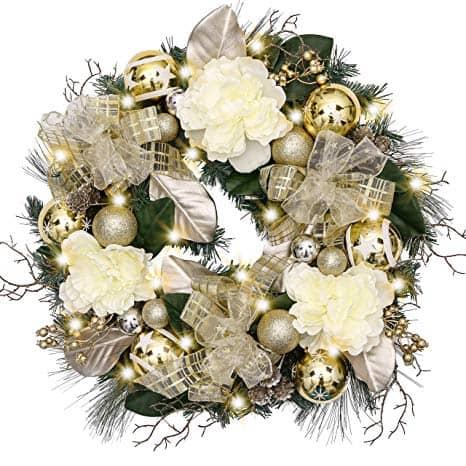 Elegant Champagne Gold Christmas Wreath