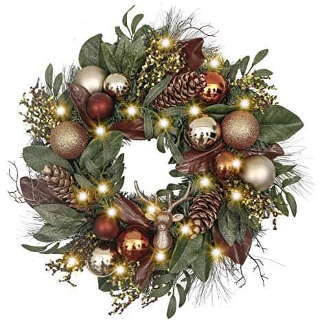 Pre-Lit 24 Inch Woodland Christmas Wreath