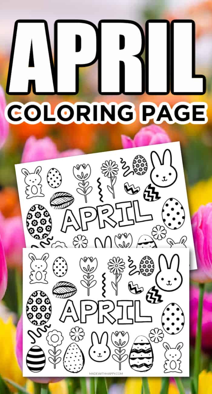 April Coloring Page for Kids