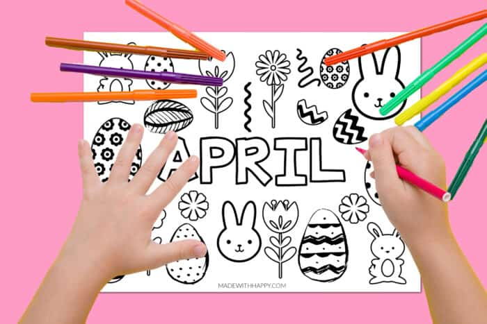 Kids coloring pages for April