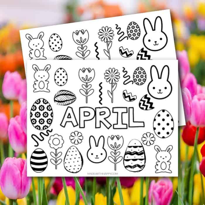 april coloring page square