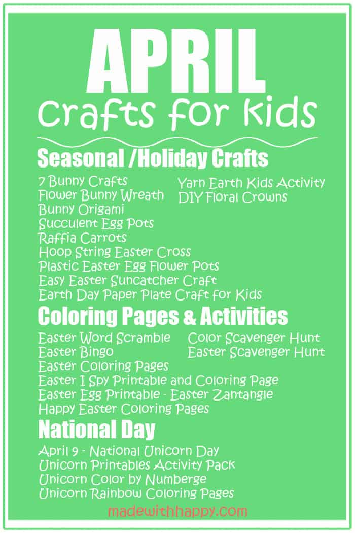 April Crafts For Kids
