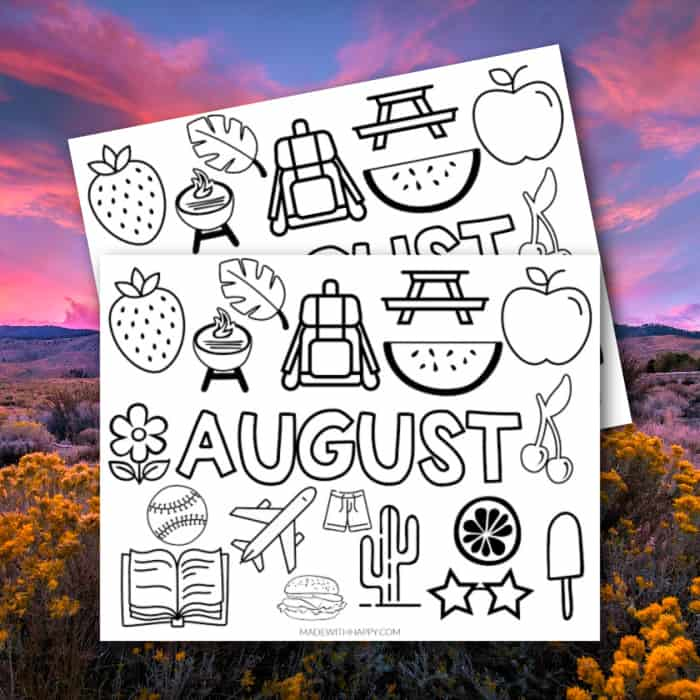 August Coloring Sheet
