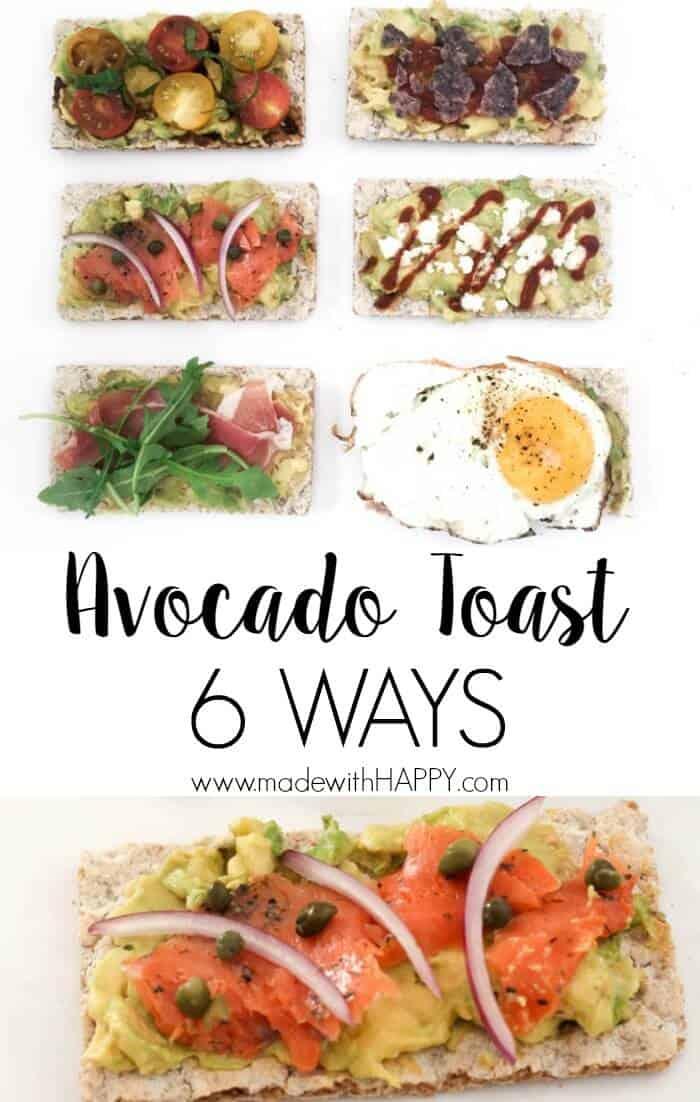 Avocado Toast 6 different ways. | Appetizer Ideas | Avocado on wasa crisp 6 different ways | Lox and avocado | www.madewithhappy.com
