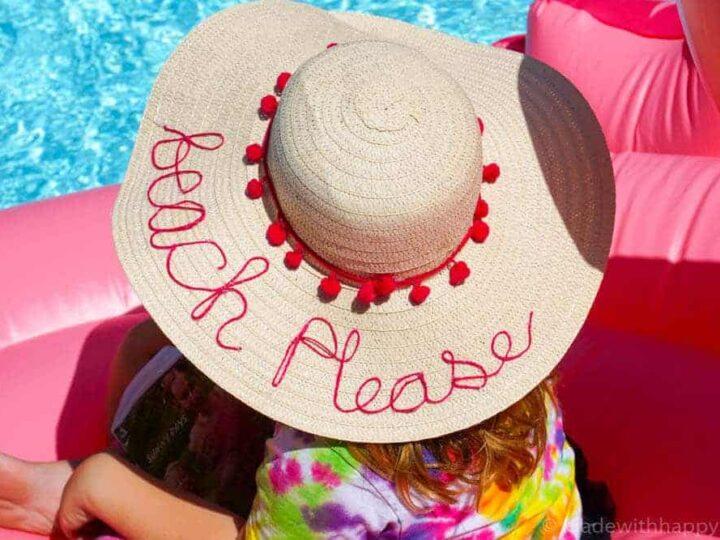 DIY Beach Please Hat | Simple Summer Beach Hat | Summer Must Haves | www.madewithhappy.com