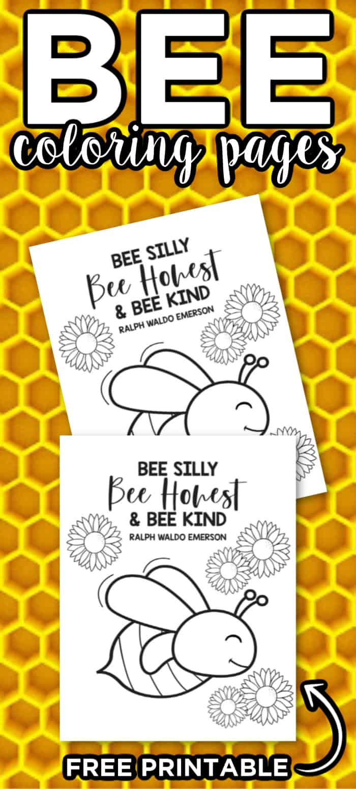 Bee Coloring Pages with Honeycomb