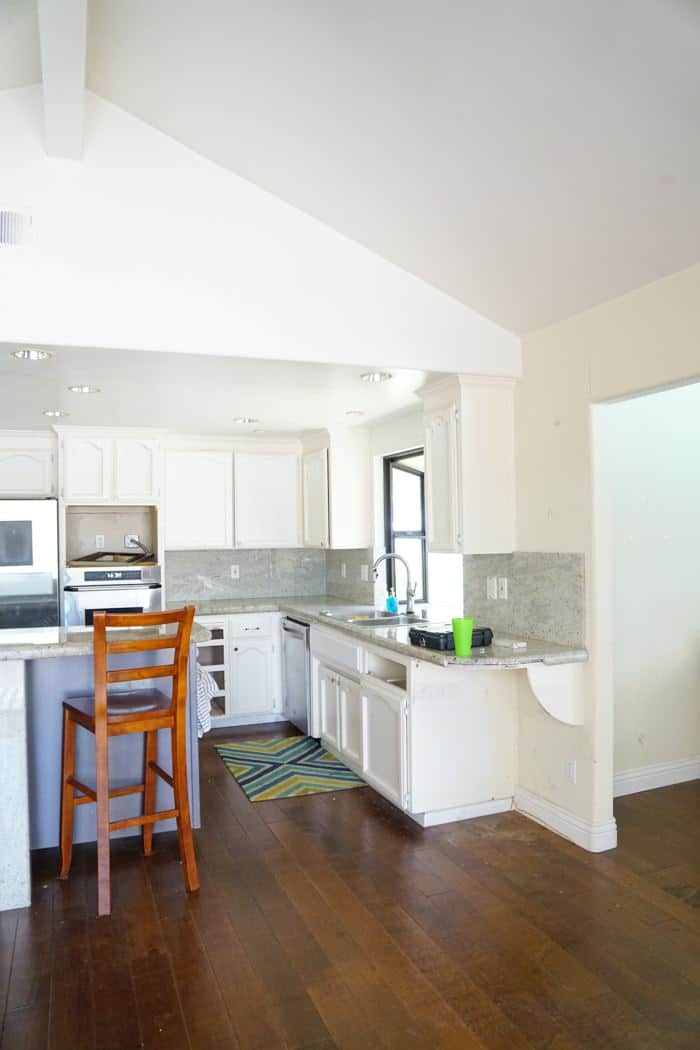 Kitchen Soffit on a before Kitchen. Kitchen renovation. Classic White Kitchen, Modern Farmhouse Style Kitchen. All White Kitchen.
