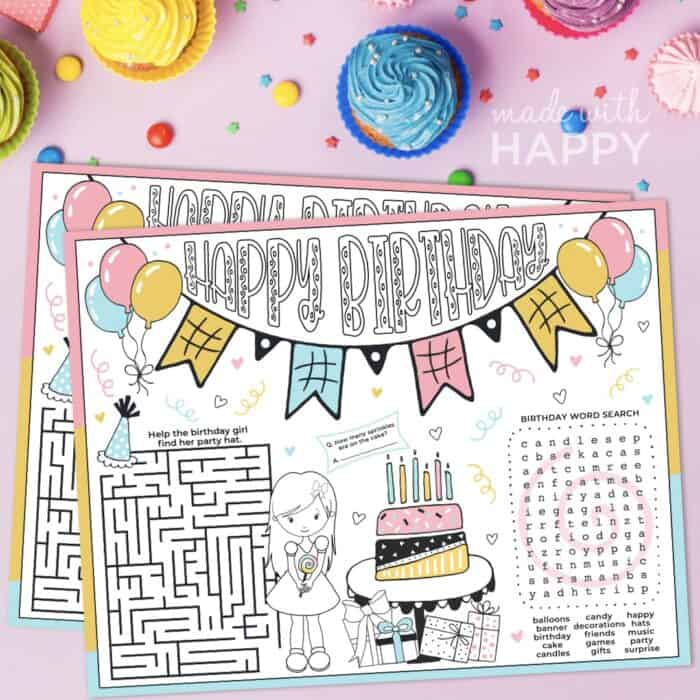 Birthday Activity Placemat