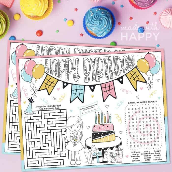 Birthday Activity Placemat