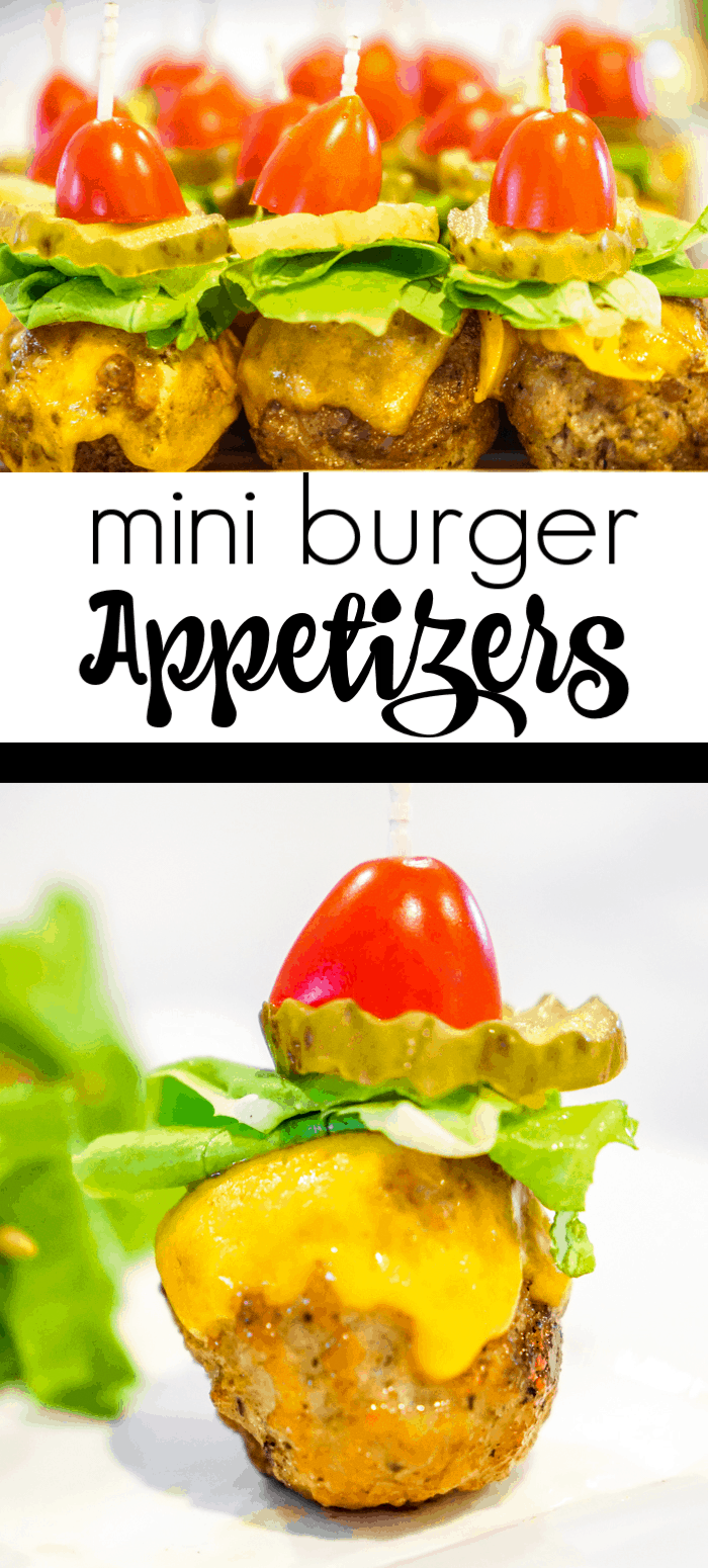 Mini burger appetizers. These cheeseburger meatballs are our favorite cocktail meatball recipes. Serve these mini burgers or any cocktail meatball at your Superbowl party.
