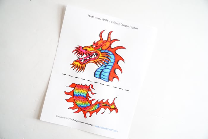 colored paper dragon