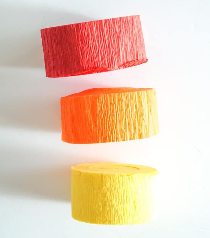 3 rolls of crepe paper