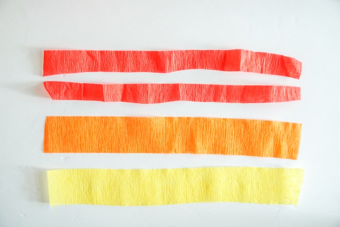 yellow orange and red Crepe paper