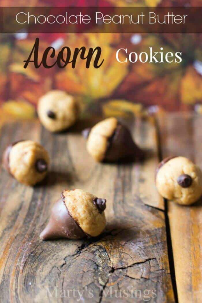 Chocolate Peanut Butter Acorn Cookies Martys Musings| 5 Super Fun Fall Foods | Halloween Themed Foods, Fall Flavored Foods | The Handmade Hangout | www.madewithHAPPY.com