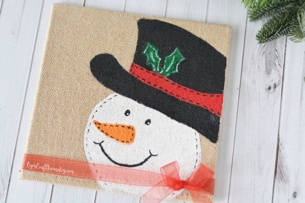 DIY Burlap Canvas Snowman Craft