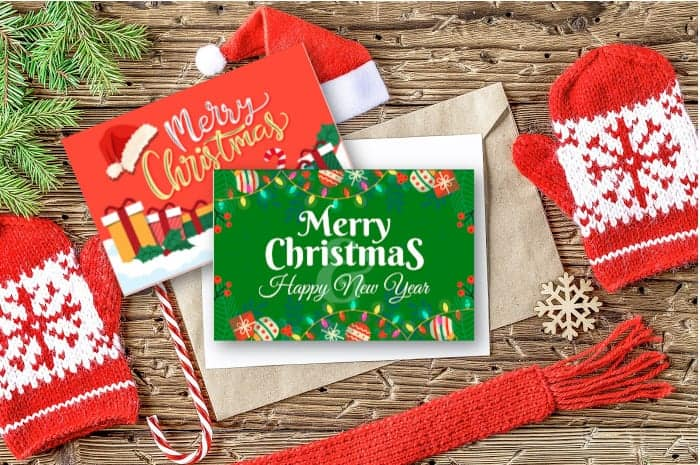 Red and green Merry Christmas Card