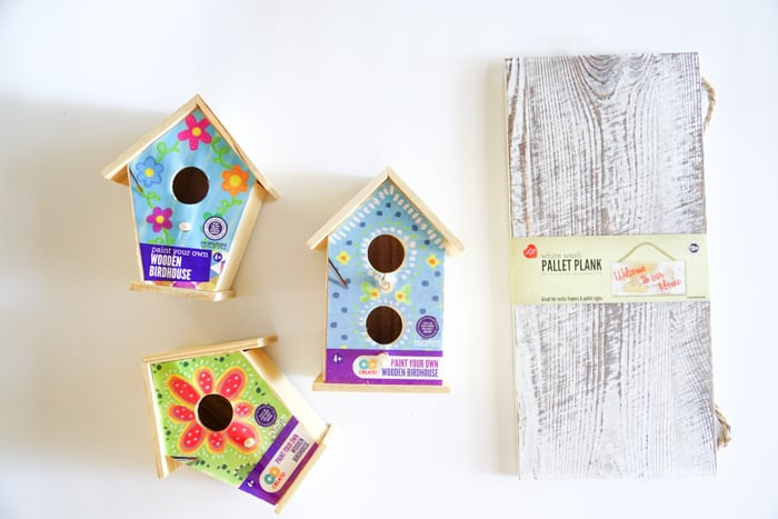Wooden Birdhouses and wood plank from walmart