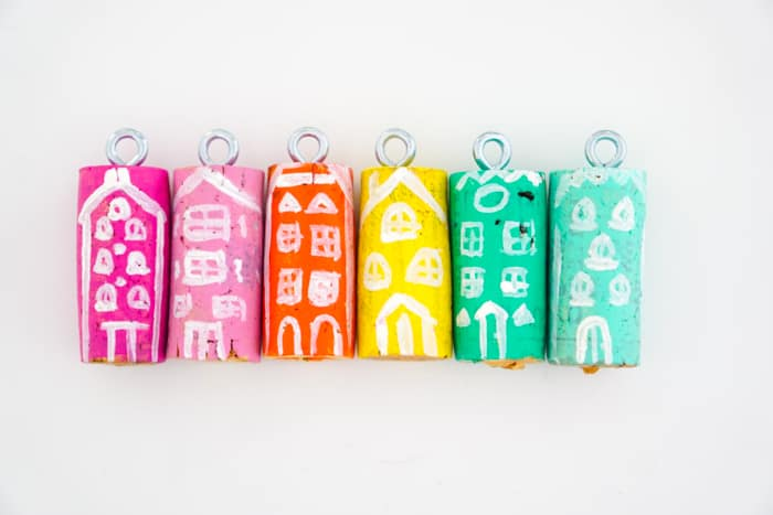 Rainbow Colored Christmas Village Wine Cork Ornaments