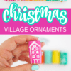 Bright Colored Christmas Village Wine Cork Ornaments DIY