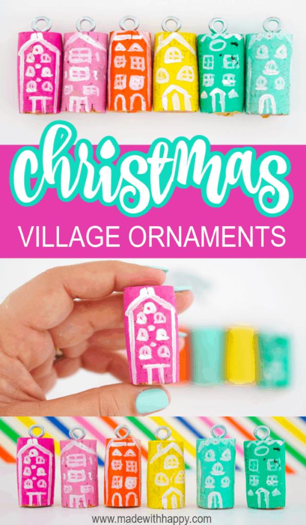 Bright Colored Christmas Village Wine Cork Ornaments DIY