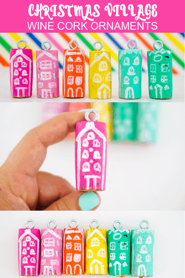 DIY Colorful Christmas Village Wine Cork Ornaments