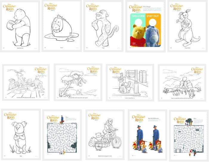 Printable Activity pages for Christopher Robin and Winnie the Pooh. Disney's Christopher Robin Movie Printable and Activity Sheets. Winnie the Pooh Party Decorations. Activity Ideas for Winnie the Pooh fans. Christopher Robin and the 100 acre woods. Pooh party ideas.