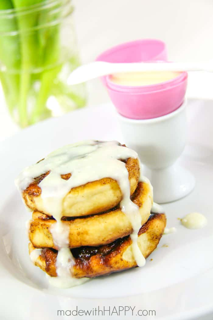 Cinnamon Roll Waffles with Drizzle in an Plastic Easter Egg