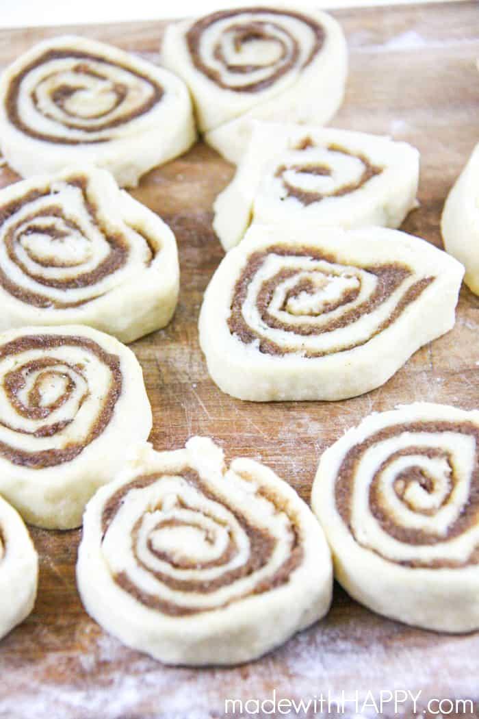 cut homemade cinnamon rolls