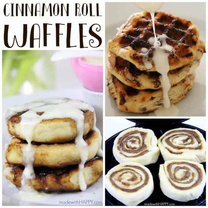 Cinnamon Roll Waffles   Easter Breakfast   Cinnamon Roll with Cream Cheese Icing   www.madewithHAPPY.com