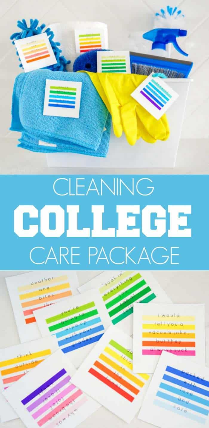 DIY College Care Package. We're putting together a fun college care package for the college student that might need a little help in the cleaning department. Cleaning College Care Package is now my new favorite care package idea because who doesn't want a roommate that is clean?
