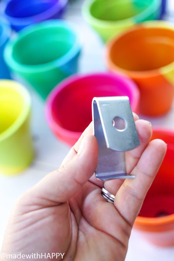 Rainbow Pots plus pot clip. Color Blocking Flower Pots. Rainbow Vertical Garden. Colorful garden pots brighten up any outside space.