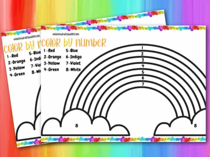 olor by number rainbow worksheet