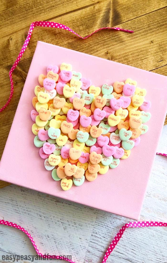 Conversation Heart Canvas Valentines Day Art