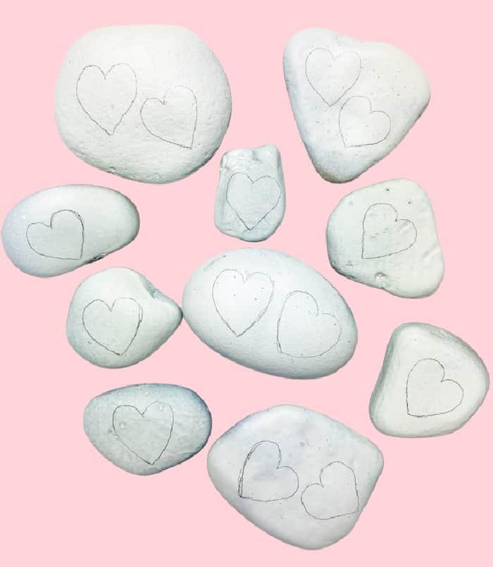 hearts drawn in pencil on rocks