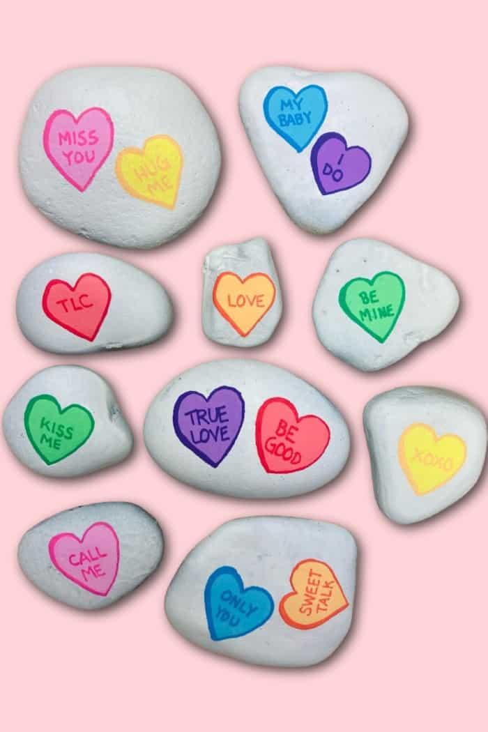 Valentines Conversation Hearts on Rocks
